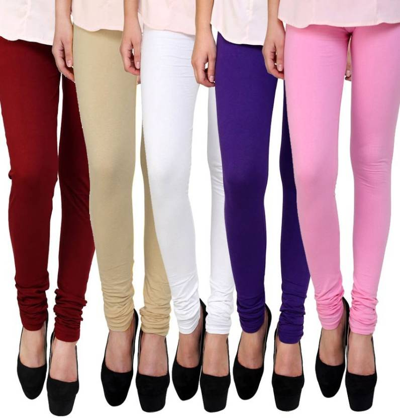 088b96f246 Shopwhizz Style Women's Cotton Lycra Leggings Combo-Pack of 5 Free Size  Churidar Legging