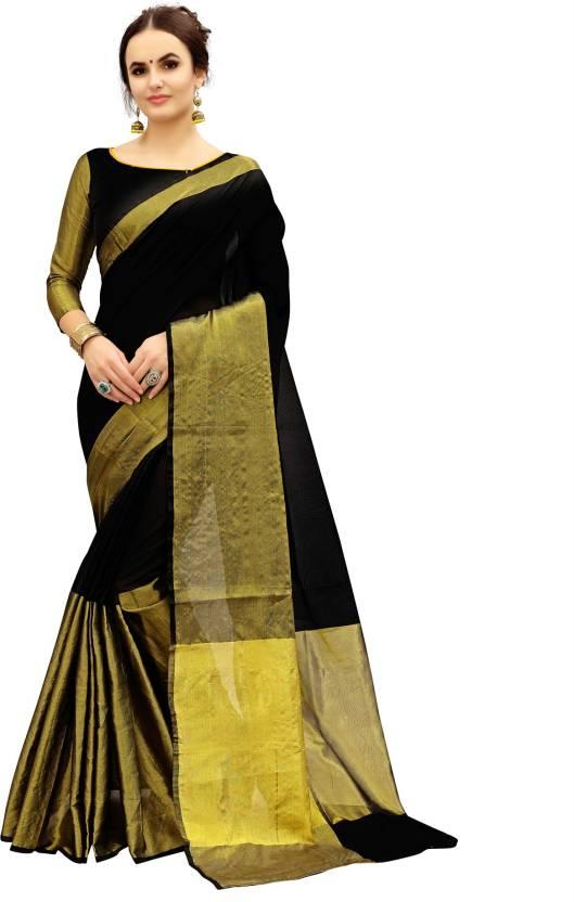 6f27a14fb2e9b9 Fabland Woven Kanjivaram Banarasi Silk, Cotton Saree (Black, Gold)