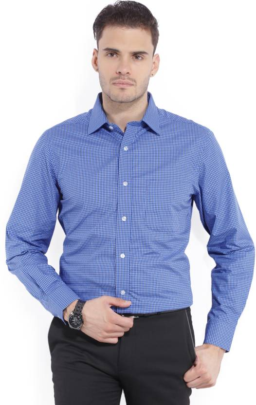 Arrow New York Men's Checkered Formal Blue Shirt