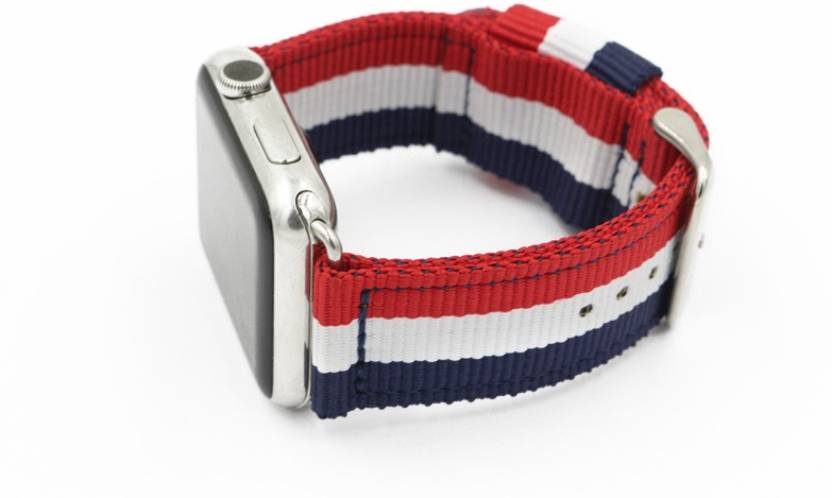 3c8f1aad6 Comfituck Comfituck 3-stripe Classic Nato Band for Apple Watch 42mm (Red/ White/Navy Blue with stainless steel buckle and adapters) Smart Watch Strap  (Mullti ...