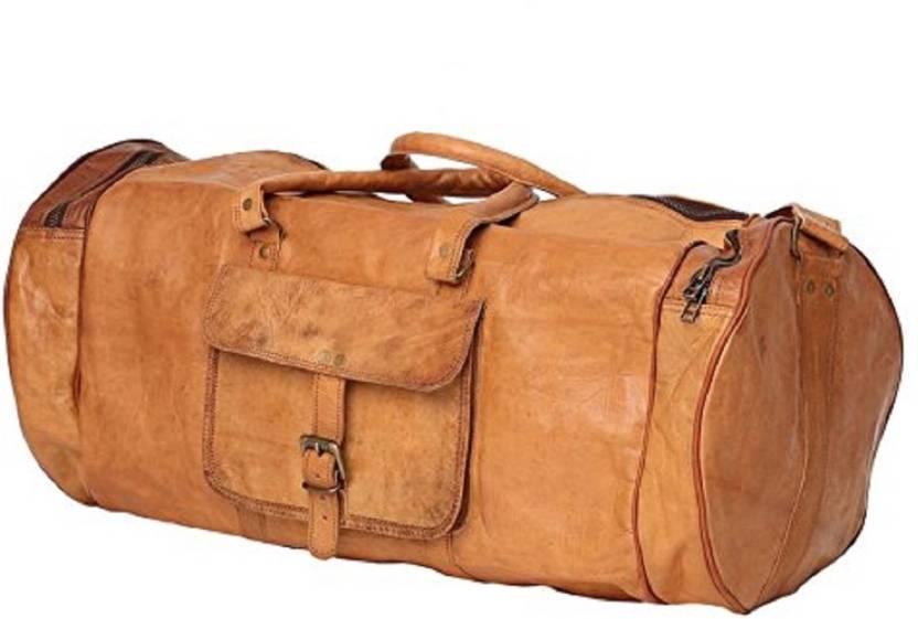 Anshika International 24 inch 61 cm 24 inch round leather duffle cum gym bag  Travel Duffel Bag (Brown) b99642b031dc0
