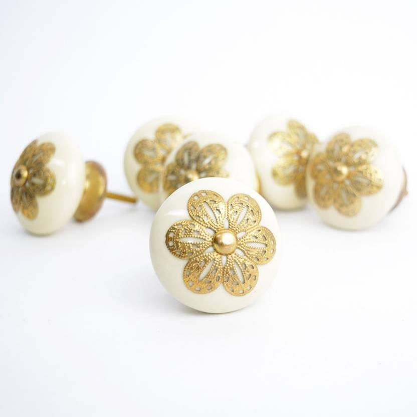 Casa Decor Pack Of 6 Golden Rose Ceramic Cupboard Cabinet Door Knobs