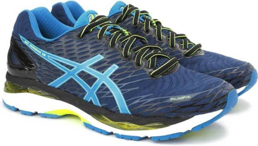 986b50157f0cd4 Asics GEL-NIMBUS 18 Running Shoes For Men - Buy POSEIDON/BLUE JEWEL/SAFETY  YELLOW Color Asics GEL-NIMBUS 18 Running Shoes For Men Online at Best Price  ...