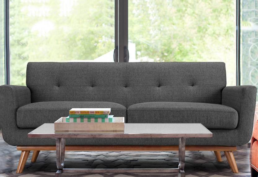 Dreamzz Furniture Mid Century 3 Seater Sofa In Grey Colour By Fabric Finish Color