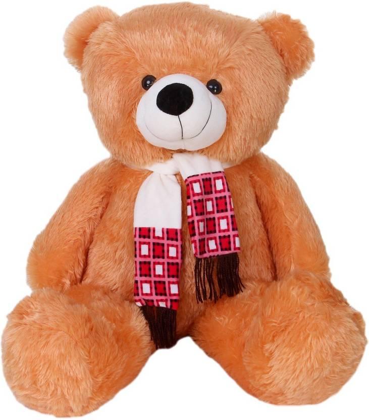 f1f21ddb642 ToynJoy 3 Feet Beautiful Golden Brown Teddy Bear Stuffed Toy with Muffler -  35 inch (Golden Brown)