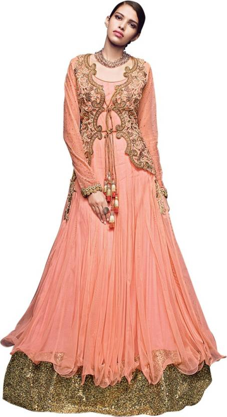 Saara Net Embellished, Embroidered Semi-stitched Gown, Salwar and Dupatta Material