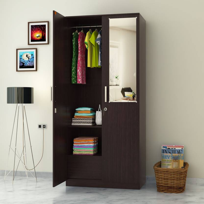 Perfect Homes by Flipkart Julian 2 Door Wardrobe with Mirror   Finish Color   Wenge, Mirror Included