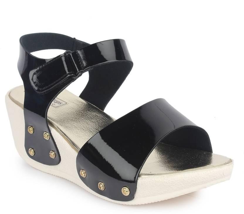 306fb3359a75 London Steps Women Black Wedges - Buy London Steps Women Black Wedges Online  at Best Price - Shop Online for Footwears in India