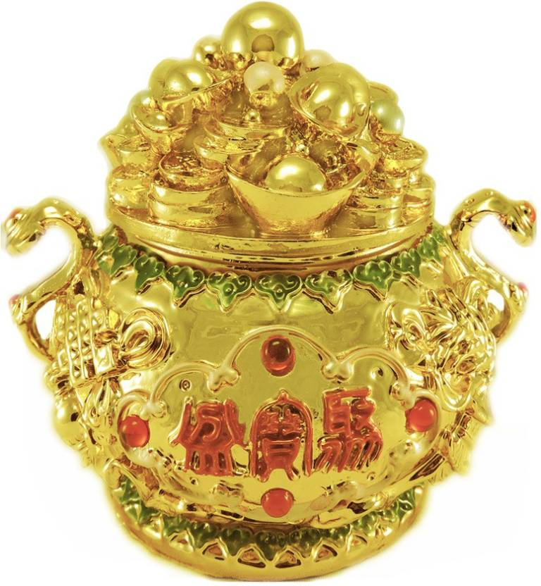 Ratnatraya Feng Shui Wealth Vase Basket For Money Luck And Prosperity Decorative Showpiece 11 Cm