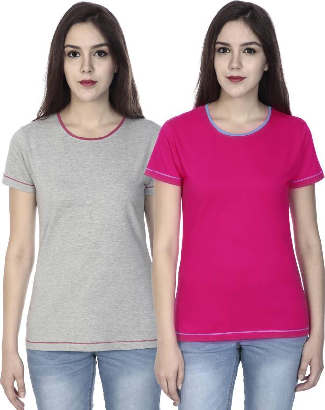 OCEAN RACE Solid Women's Round Neck Grey, Pink T-Shirt  (Pack of 2)