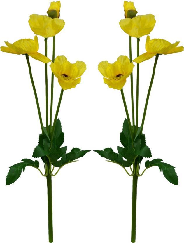 Fancymart Artificial Poppy Silk Flower Sticks Set Of 2 42 Cms