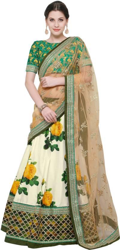Zeel Clothing Silk Floral Print, Embroidered Semi-stitched Lehenga Choli Material, Lehenga Choli Material