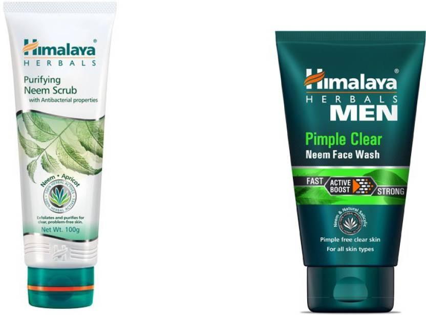 5b1fa1ff40 Himalaya Purifying Neem Scrub, Men Pimple Clear Neem Face Wash (Set of 2)