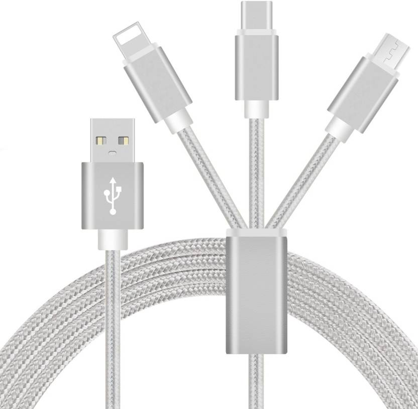 Digimart 3 in 1 USB Charging Cable with 8 Pin Lightning, USB Type C, Micro  USB Charging Cable Connector Compatible with Xiaomi Mi, Apple, Samsung,
