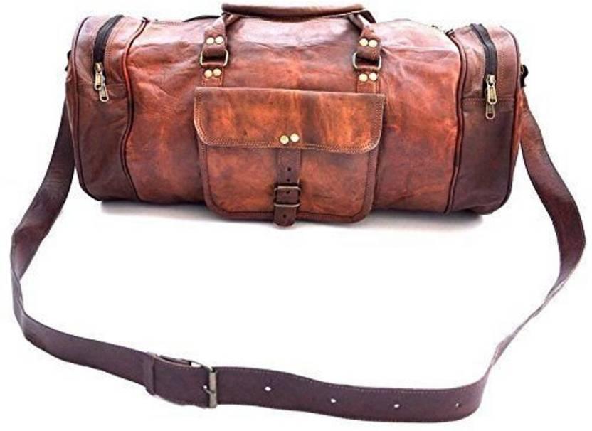 215ff12dd955 CraftShades (Expandable) Handmade leather duffel bag Travel Duffel Bag  (Brown)