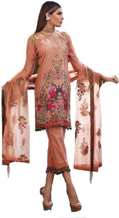 add07194d8 madeesh Satin Floral Print Salwar Suit Dupatta Material (Un-stitched)