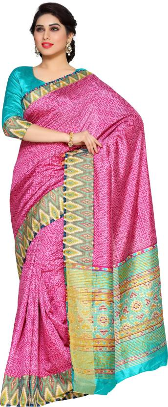7d21ebe34f0101 Buy Mimosa Printed Ikkat Tussar Silk Pink Sarees Online   Best Price ...