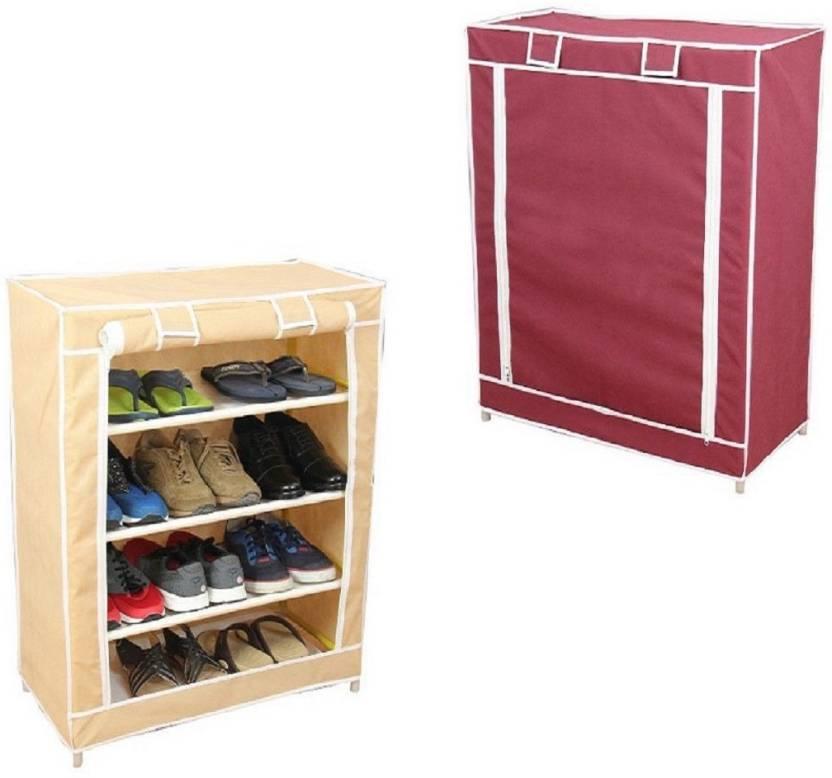 Novatic Plastic, Fabric Shoe Stand 3 Shelves
