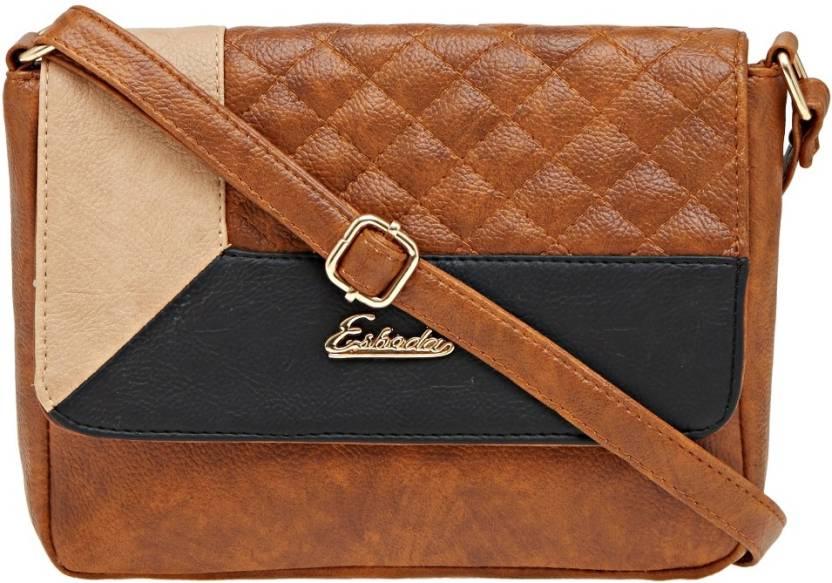Esbeda Women Casual Brown Pu Sling Bag