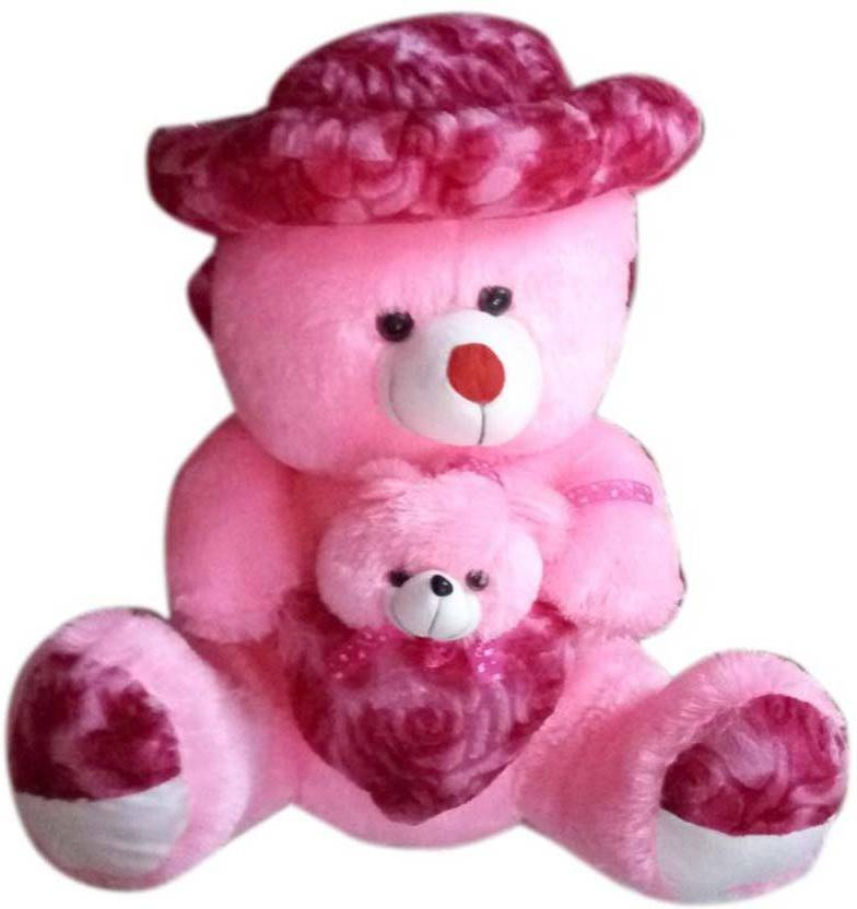 bb8e82ce7b2 ATTRACTIVE 3 Feet Pink Mother Baby Teddy Bear with Cap   Heart - 90 cm  (Pink)