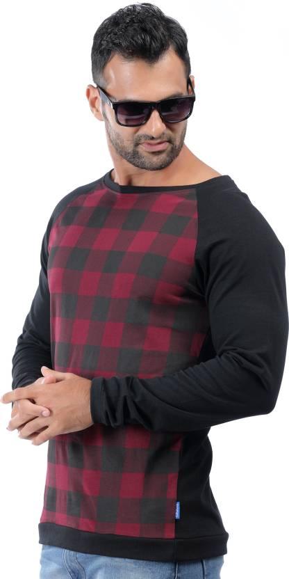 Rodid Checkered Men's Boat Neck Maroon T-Shirt
