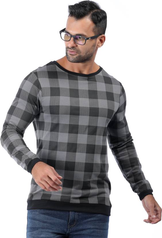 Rodid Checkered Mens Boat Neck Grey T-Shirt