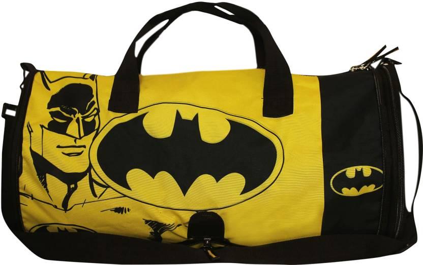 27809d89dec Planet Superheroes Comic Batman with Logo Travel Duffel   Duffle   Gym Bag ( Black, Yellow)
