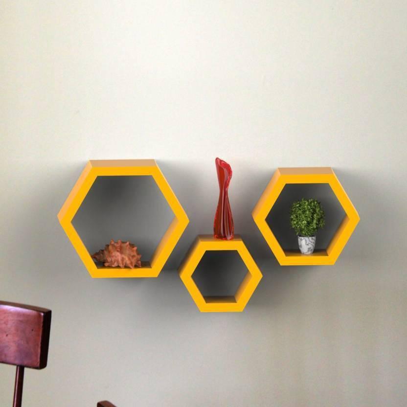 Decorasia Hexagon Shape MDF Wall Shelf Price in India - Buy