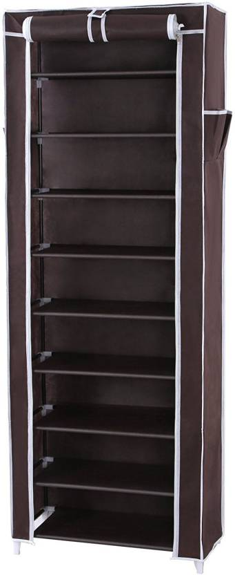 KridhaCart Polyester Collapsible Shoe Stand Brown, 9 Shelves