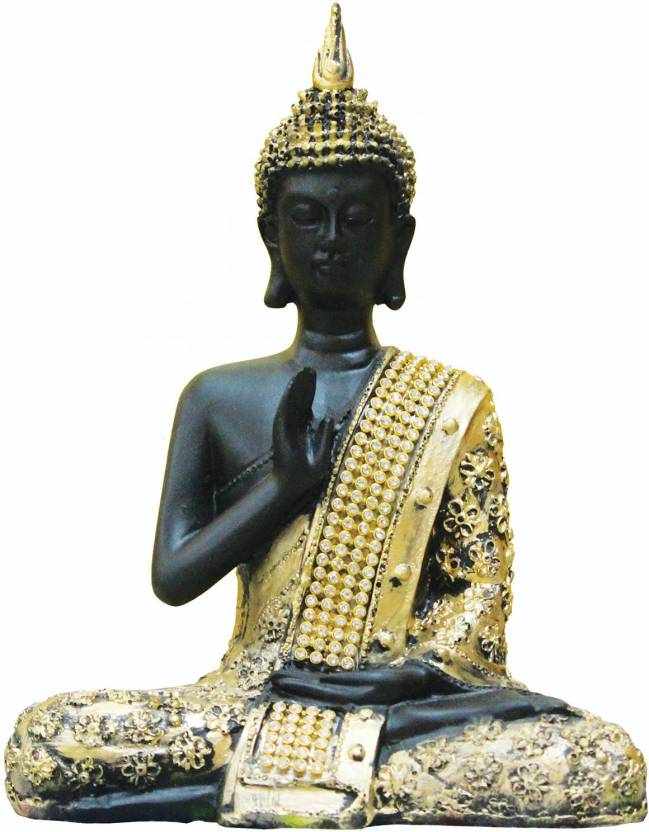 SR Crafts Beautiful antique meditating Buddha Statue in Golden color is brought to you by SR Crafts Showpiece  -  19 cm