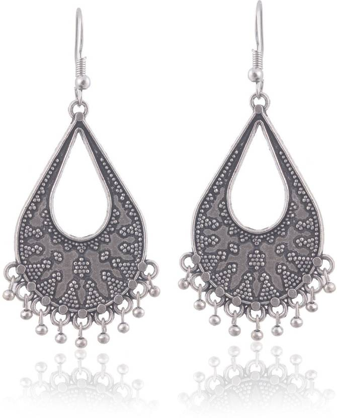Manaswita Ghungroo Drops Silver Oxidised White Metal Earrings With Flower Petal Design On It Specially For