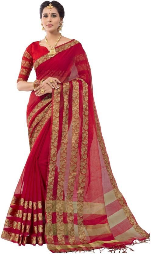 63baf2ea21 Buy Taanshi Plain Guntur Cotton Silk Red Sarees Online @ Best Price ...