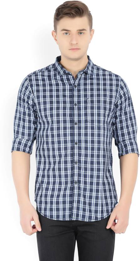 Locomotive Mens Checkered Casual Dark Blue Shirt