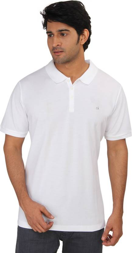 47f3f1c149b Calvin Klein Solid Men s Polo Neck White T-Shirt - Buy White Calvin Klein  Solid Men s Polo Neck White T-Shirt Online at Best Prices in India