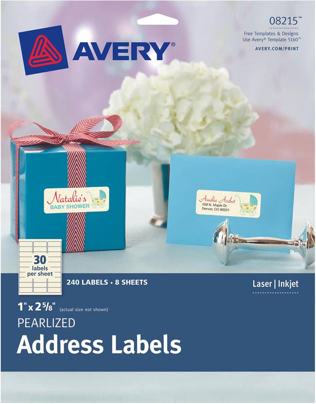 avery dennison address labels 1 x2 5 8 240 pkg pearlized address