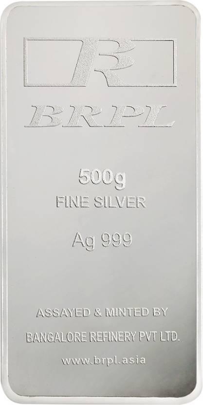 Bangalore Refinery Brpl 500 Gram Silver Bar S 999 500 g Silver Bar