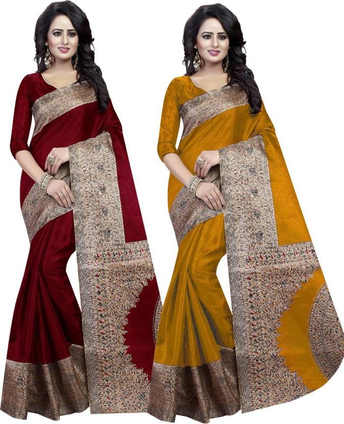 9804c8a0c Buy Ishin Printed Bhagalpuri Art Silk Multicolor Sarees Online ...
