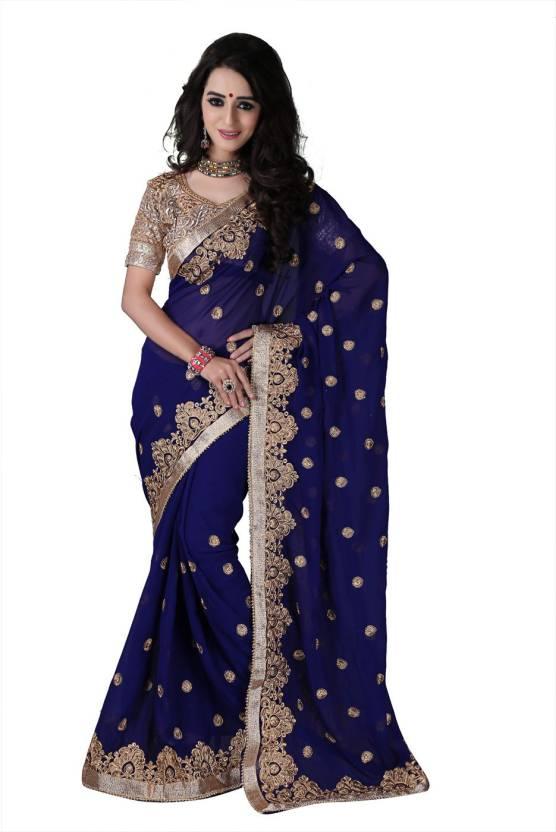 1a691c5edb Bunny Sarees Embroidered Fashion Georgette Saree (Dark Blue, Gold)