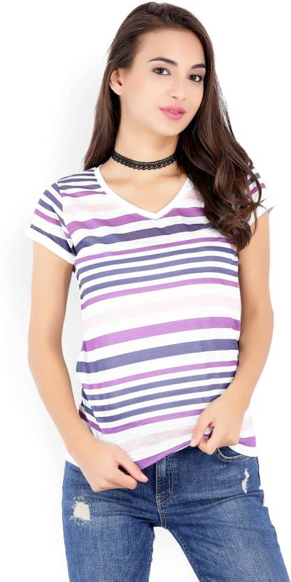 b6df15aa20bb62 LC Waikiki Striped Women V-neck White