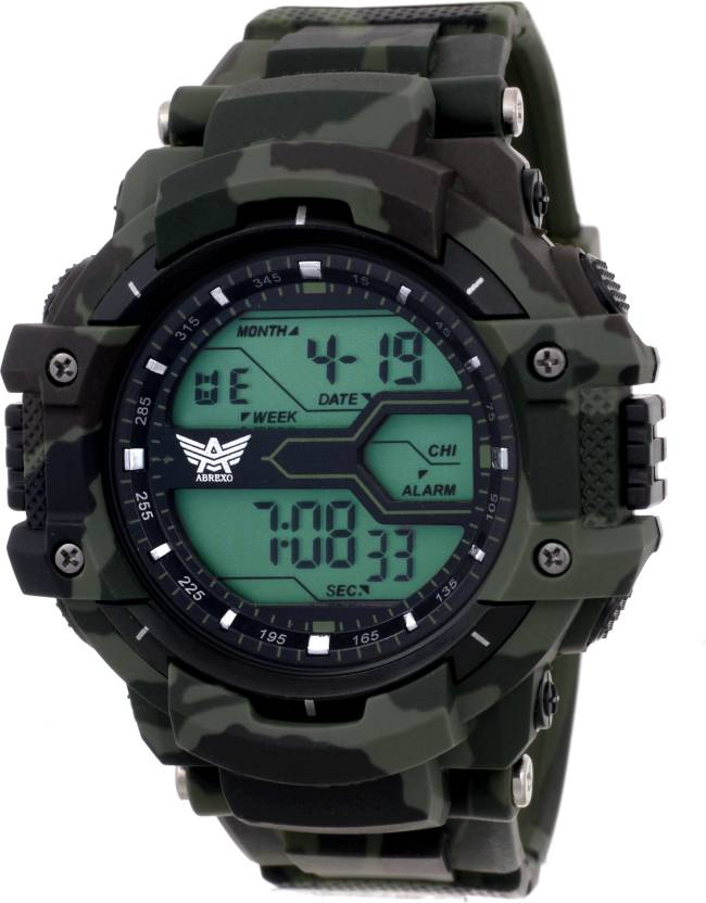 Abrexo Abx1017-Gents Green Solitary Affrican Army Pattern Chronograph Digital Watch Watch - For Men