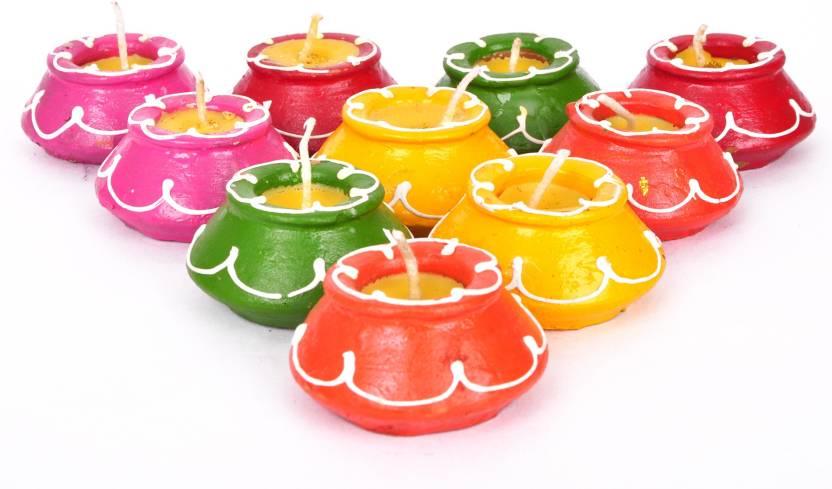 Tied Ribbons Diwali Mutki Candles and Diya Terracotta Table Diya Set