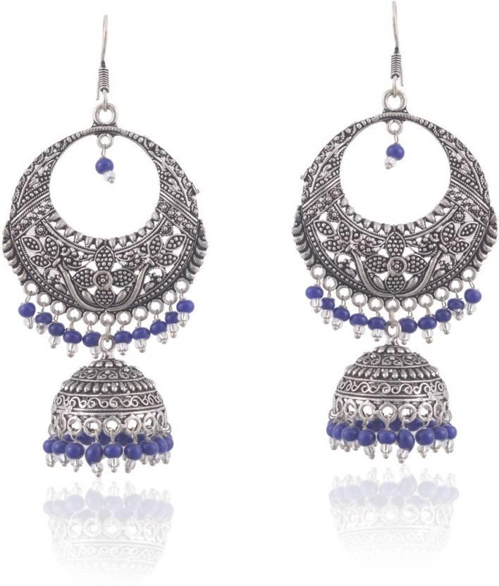Manaswita Black Metal Silver Oxidised Earring Jhumki Dangler With Circular Pendant Design Blue Color White