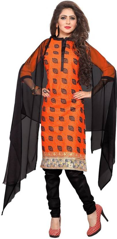 br fashion Chanderi Cotton Embroidered Semi-stitched Salwar Suit Dupatta Material