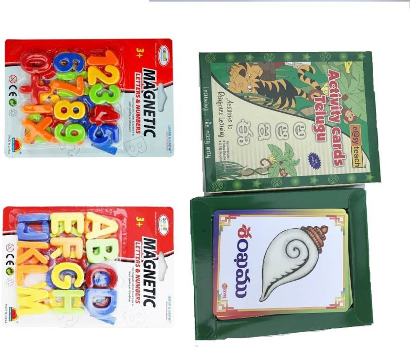 Aparnas Telugu letters activity card and Magnetic english letters