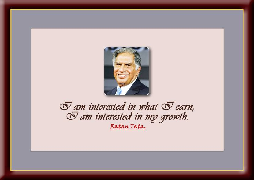 Framed Quote Of Ratan Tata 007 Paper Print Naga Prasad Kondapalli