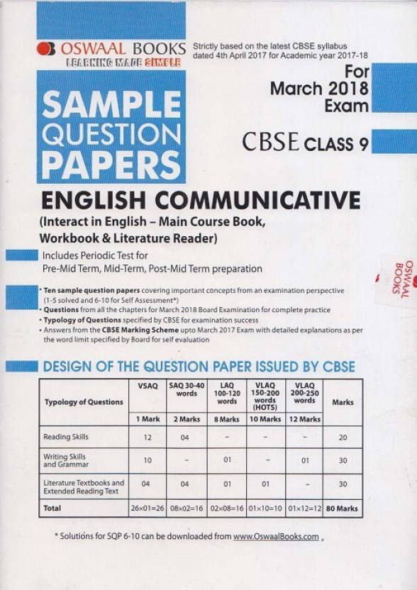 Oswaal cbse sample question papers class 9 english communicative oswaal cbse sample question papers class 9 english communicative march 2018 exam malvernweather Images