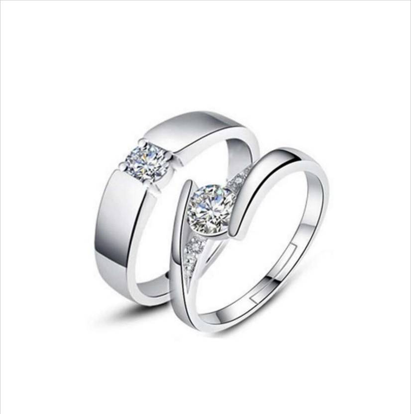 099212f4b4d0 DCJEWELS Beautiful Swarovski Elements Adjustable Couple Rings Sterling  Silver Cubic Zirconia Sterling Silver Plated Ring Set