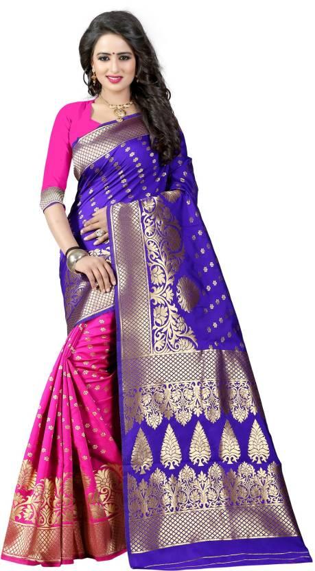 The Fashion Outlets Self Design, Plain Banarasi Cotton, Silk Saree