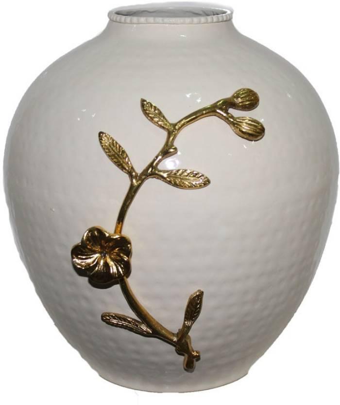 Sarvsiddhi White And Silver Flower Vase For Living Room Aluminium