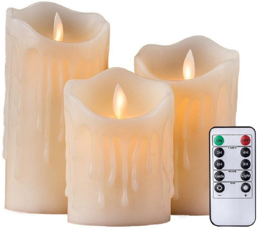 Battery Operated // Powered with Timer Real Wax Dancing Flame Candles